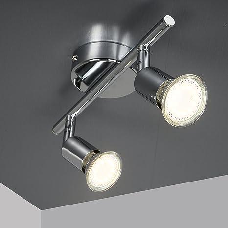 Lisa de techo de cromo 2 LED Lámpara, Lámpara de techo, LED foco, focos, Salón Lámpara de techo Salón, Foco, Techo, Spot techo, iluminación de techo, ...