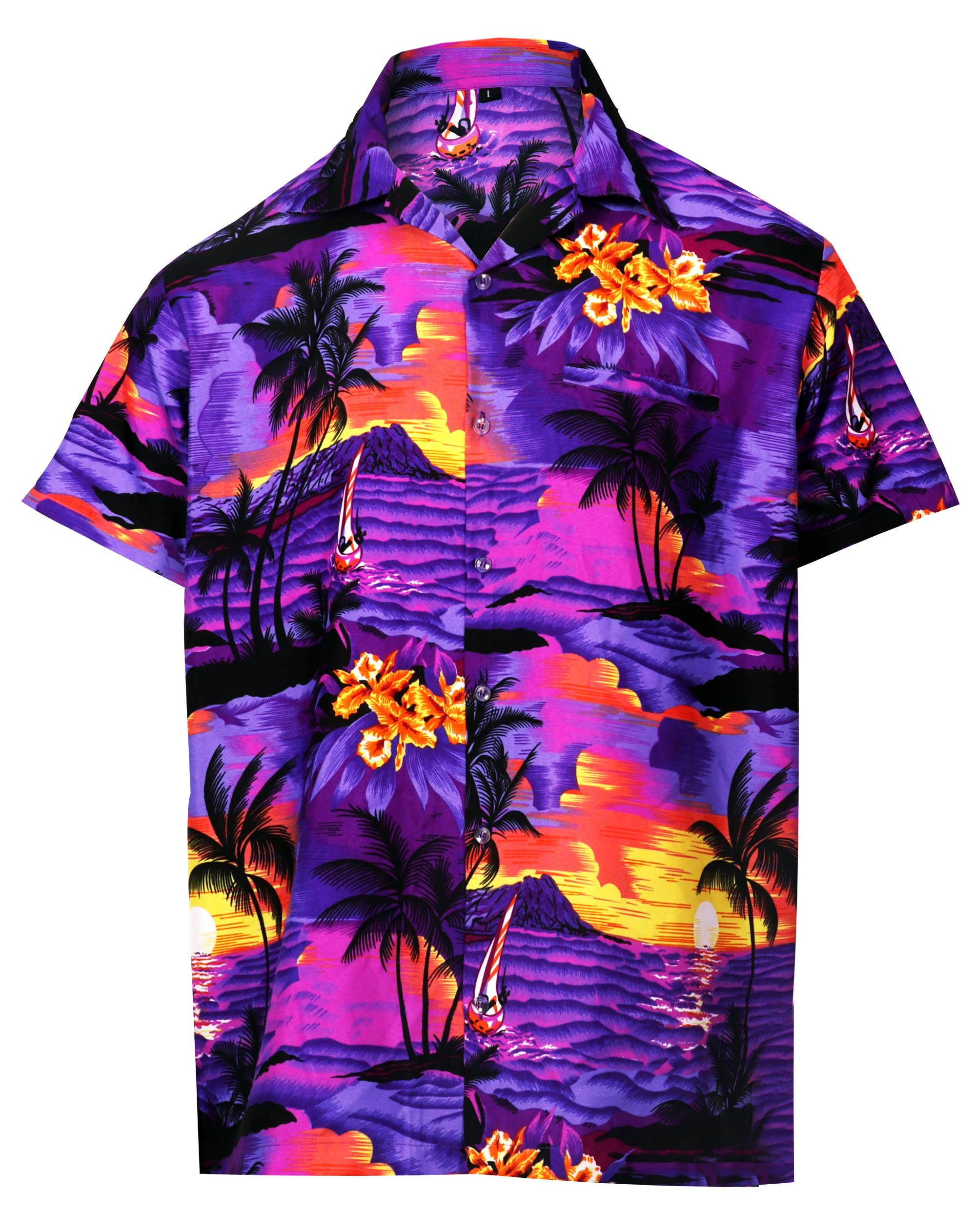Virgin Crafts Men's Button Down Hawaiian Short Sleeve Small Palm Print Summer T-Shirt
