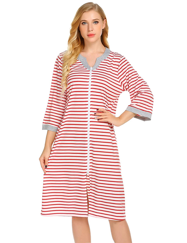Ekouaer Women Long Robes Zipper Front Full Length House Coat with Pockets Striped Loungewear EKV007155