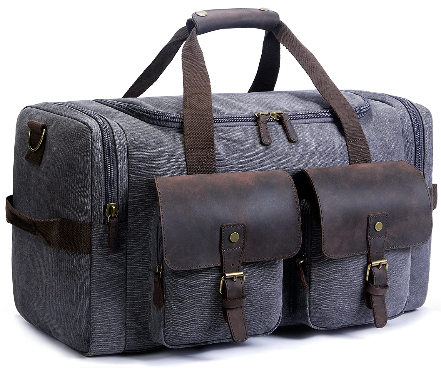 SUVOM Canvas Duffle Bag Leather Weekend Bag Carry On Travel Bag Luggage Oversized Holdalls for Men and Women SAI0370B