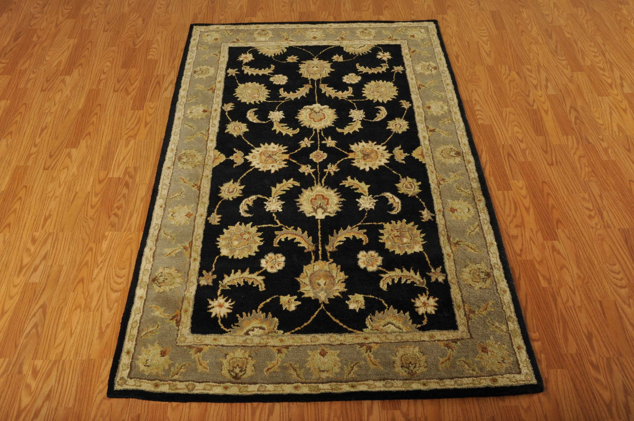 Nourison India House (IH90) Black Rectangle Area Rug, 3-Feet 6-Inches by 5-Feet 6-Inches (3'6'' x 5'6'')
