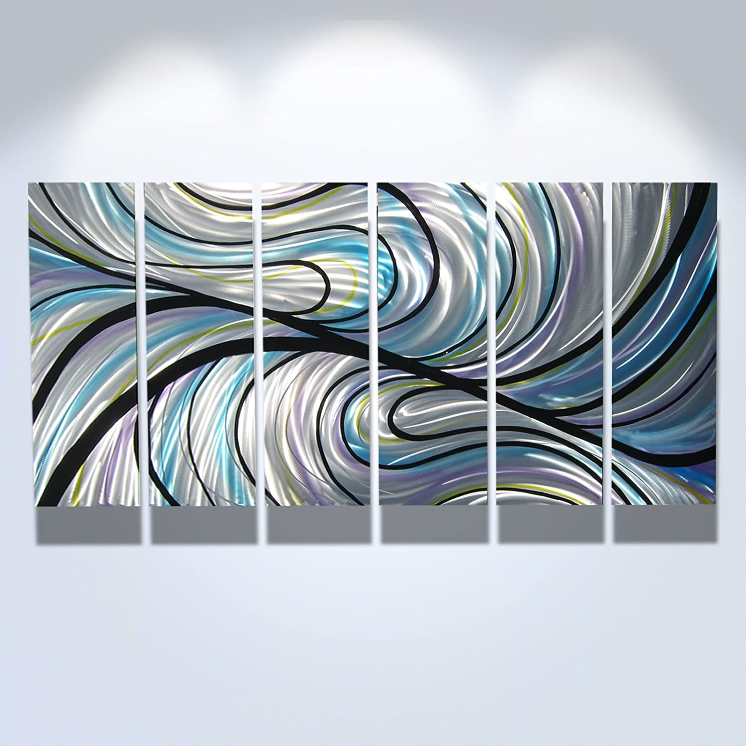 Amazon com metal wall art modern home decor abstract artwork sculpture convergence by miles shay home kitchen