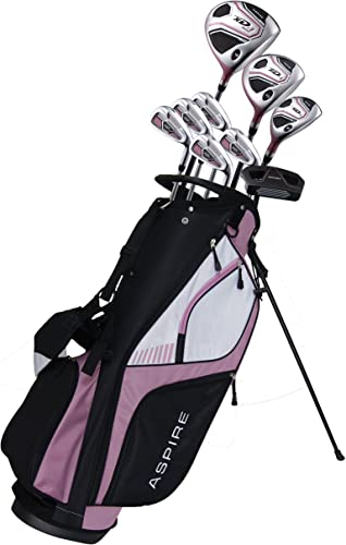 Aspire XD1 Ladies Womens Complete Right Handed Golf Clubs Set Includes Titanium Driver, S.S. Fairway, S.S. Hybrid, S.S. 6-PW Irons, Putter, Stand Bag, 3 H C s Pink