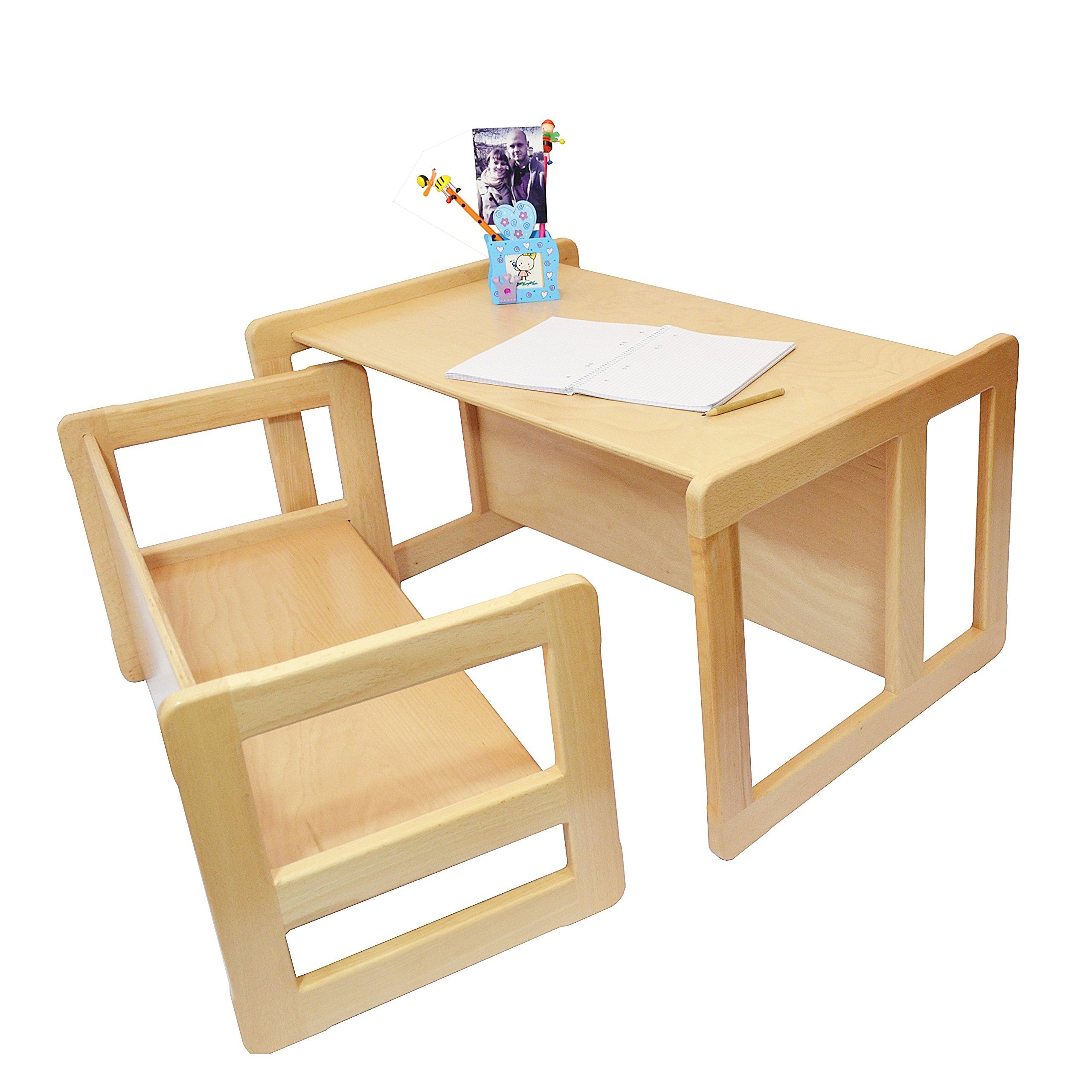3 in 1 Childrens Multifunctional Furniture Set of 2, One Small Bench or Table and One Large Bench or Table Beech Wood, Natural