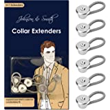 "Johnson & Smith Collar Extenders by Johnson & Smith – Neck Extender/Wonder Button for 1/2 Size Expansion of Men Dress Shirts, 5 +1 Pack, 3/8"", JS-20001-US, Metallic, 3/8 Inch"