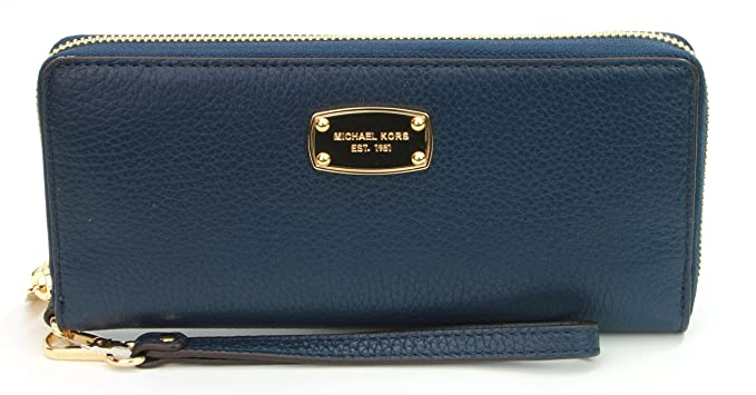 221acc44b5ac4c Image Unavailable. Image not available for. Color: Michael Kors Navy Blue  Leather Jet Set Travel Continental Zip Around Wallet Wristlet