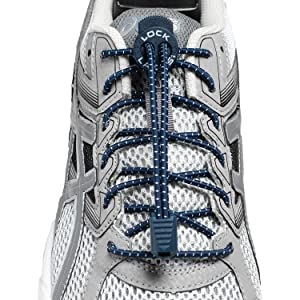 Lock Laces (Elastic No Tie Shoe Laces (Pack of 2) (Navy-Grey) (Color: Navy/Gray, Tamaño: 48 inches)