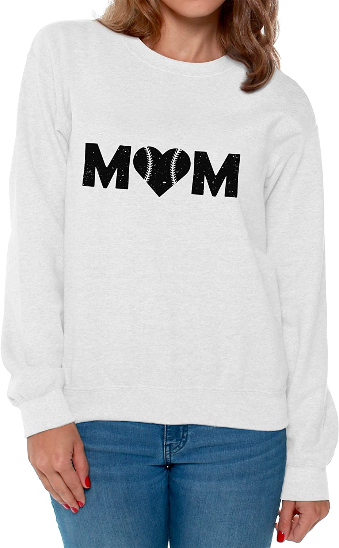 Awkward Styles Womens Baseball Mom Heart Sweatshirt Crewneck Black Sport Moms Heart