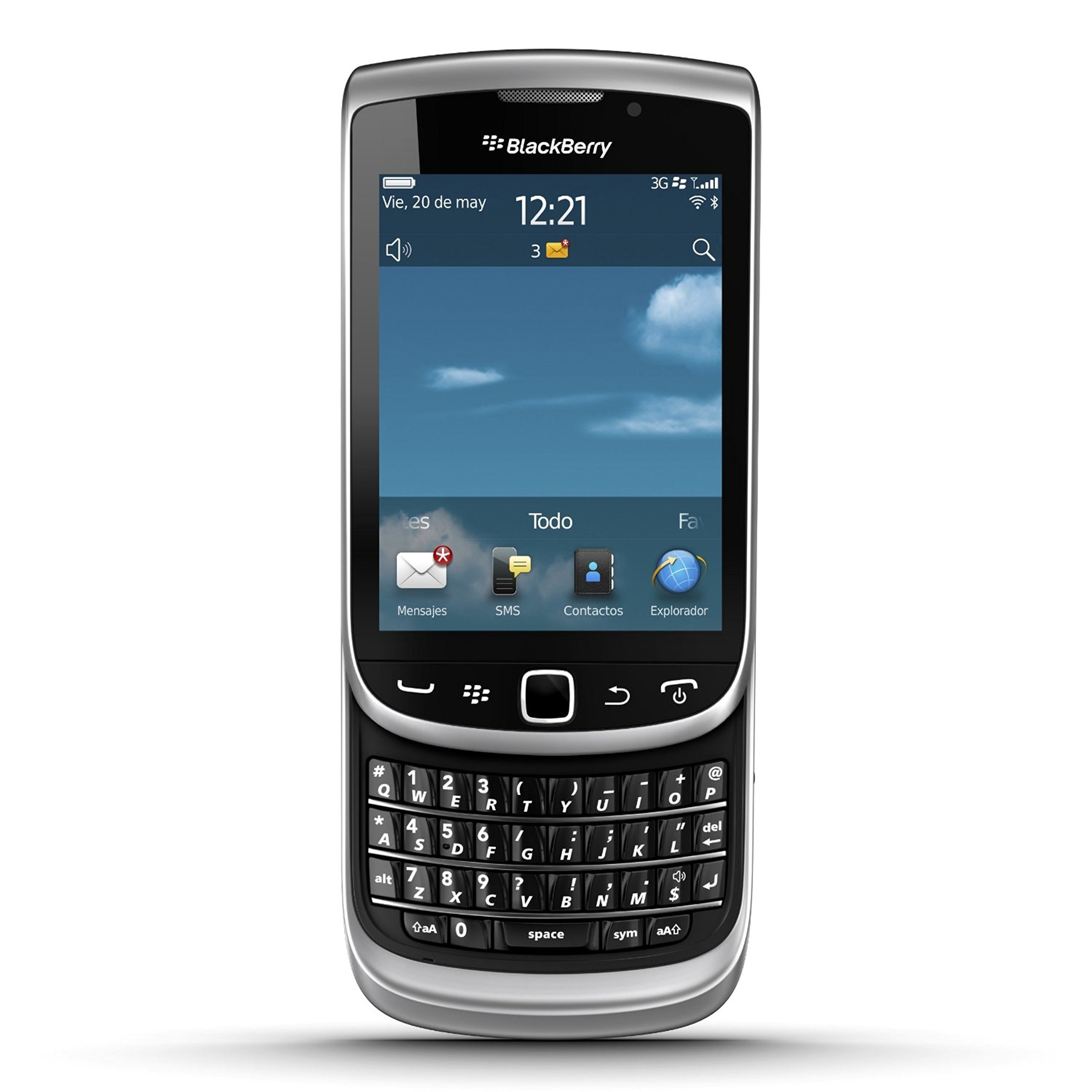 Blackberry Torch 9810 Unlocked GSM Phone with OS 7.0, Touchscreen, Slider-QWERTY Keboard, Optical Trackpad, 5MP Camera, Video, GPS, Wi-Fi, Bluetooth and microSD Slot - Silver