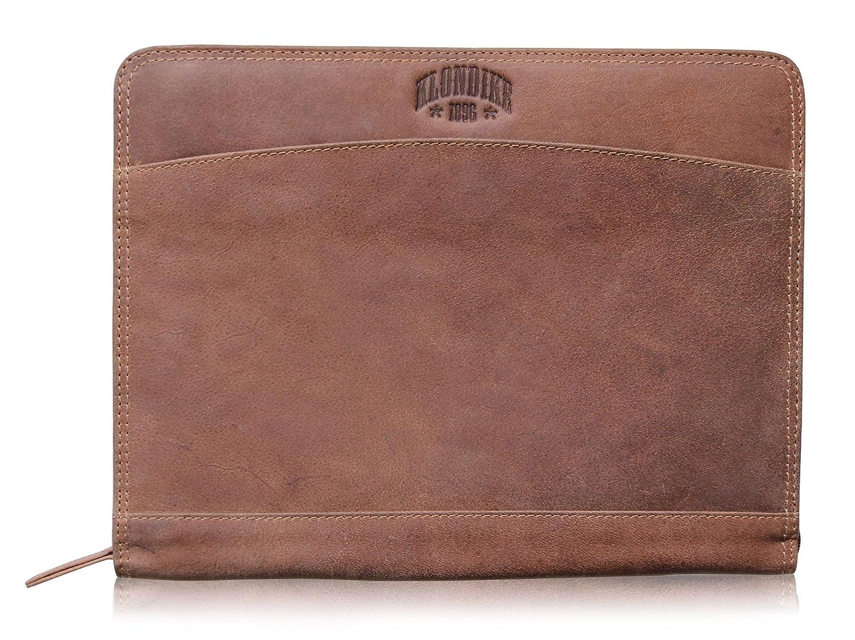 Klondike 1896 Conférencier 'Bruce' en cuir véritable, porte-documents plat vintage haute qualité, mid brown