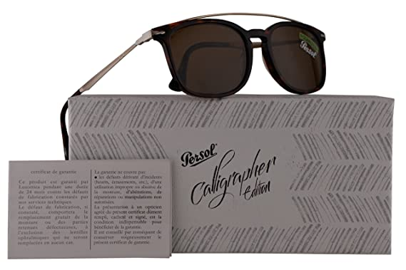 9155803f78f17 Persol PO3173S Calligrapher Edition Sunglasses Dark Havana w Polarized  Brown Lens 54mm 2457 PO 3173-S PO3173-S PO 3173S  Amazon.co.uk  Clothing