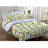 Ahmedabad Cotton 136 TC Cotton Double Bedsheet with 2 Pillow Covers - Abstract (Green)