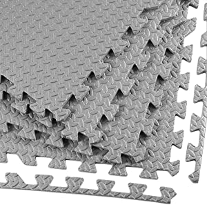 """Clevr 96sq. ft (24 Pieces) Interlocking Gym EVA Foam Floor Mat Tiles (24""""x24"""") - Grey, Protective Flooring Workout Exercise Mat Puzzle Cushion with Borders, Steel Pattern, 1 Year Limited Warranty"""