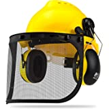 NEIKO 53880A Forestry Safety Helmet with Earmuffs | Hi Viz Yellow Color | Face Shield Protection | Steel Mesh and Clear Face