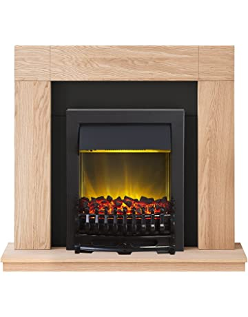 Adam Malmo Fireplace Suite in Oak with Blenheim Electric Fire in Black, 39 Inch
