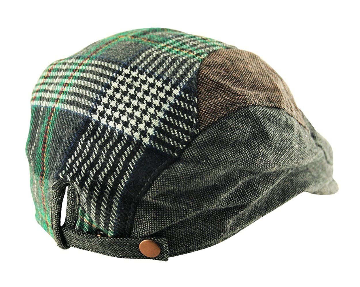 7f126afadd41e Mens Cotton Check Tweed Houndstooth Flat Cap Golf Baker Boy in Grey and  Green  Amazon.co.uk  Clothing