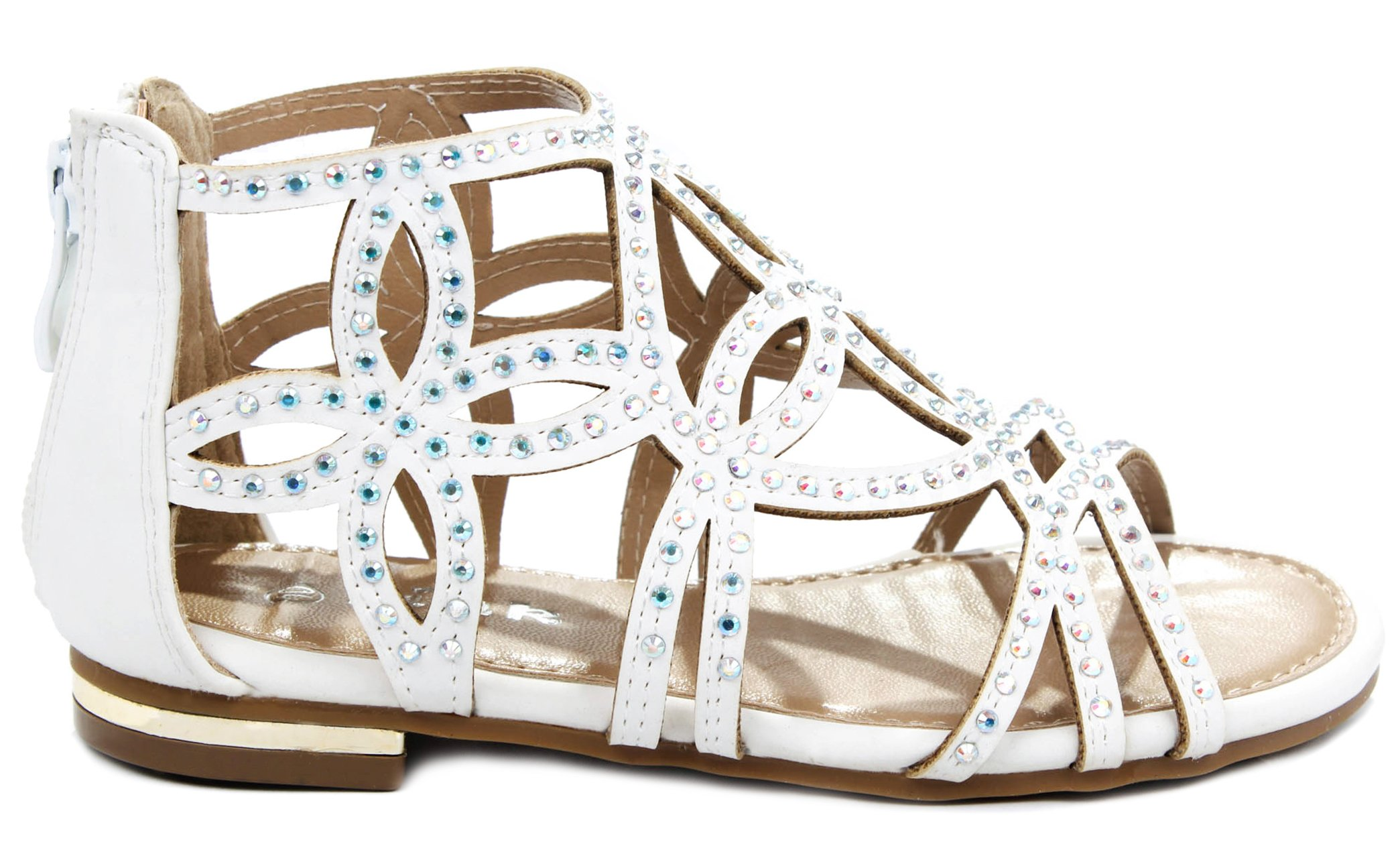 Forever Tory-63K Girls Rhinestone Glittering Cut Out Strap Gladiator Flat Dress Sandal,White Nub_T-63K,1