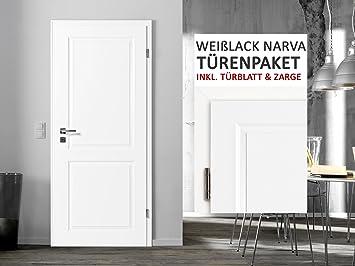 Blanco lacado habitaciones puertas del paquete Narva 2 F 3 – 11 Elementos Puerta hojas + zarge grosor de la pared 8 – 33 cm: Amazon.es: Bricolaje y herramientas