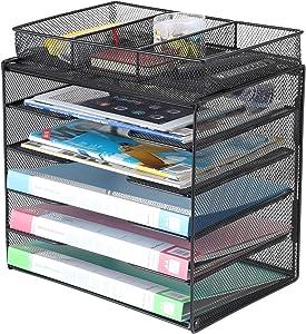 Samstar Letter Tray Organizer, Mesh Desk File Organizer Paper Sorter Holder 5-Tier with 1 Extra File Sorter, Black