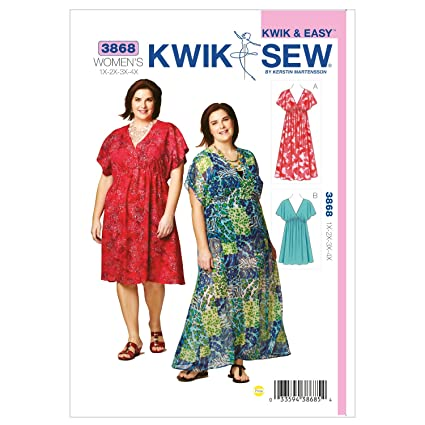 Amazon Kwik Sew K3868 Dresses Sewing Pattern Size 1x 2x 3x 4x