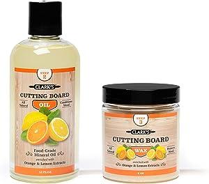 CLARK'S Cutting Board Oil & Wax (2 Bottle Set) | Includes CLARK'S Cutting Board Oil (12oz) & CLARK'S Finish Wax (6oz) | Orange & Lemon Scent