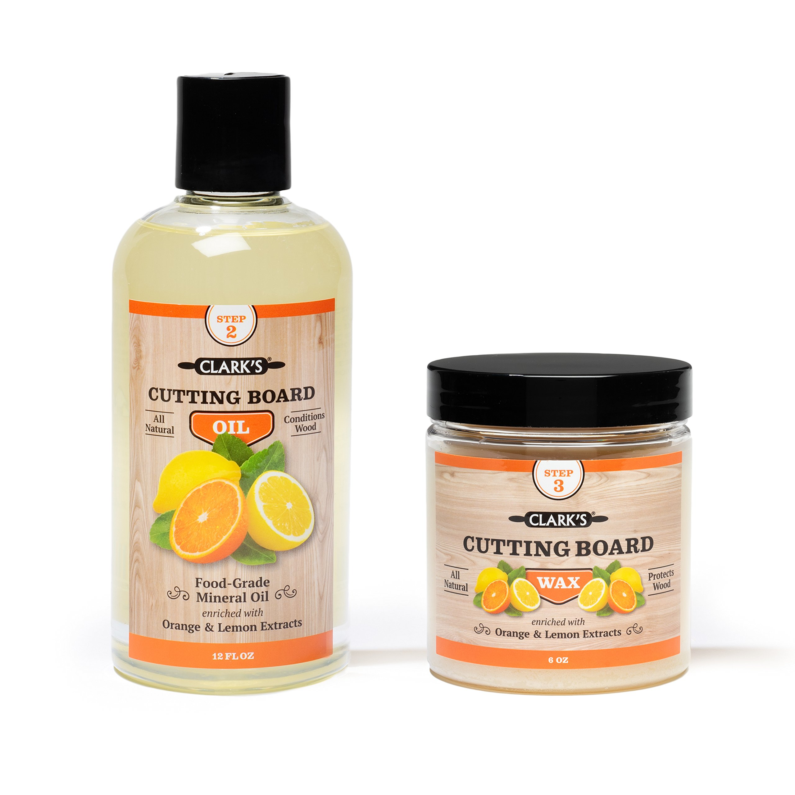 CLARK'S Cutting Board Oil & Wax (2 Bottle Set) | Includes CLARK'S Cutting Board Oil (12oz) & CLARK'S Finish Wax (6oz) | Orange & Lemon Scent