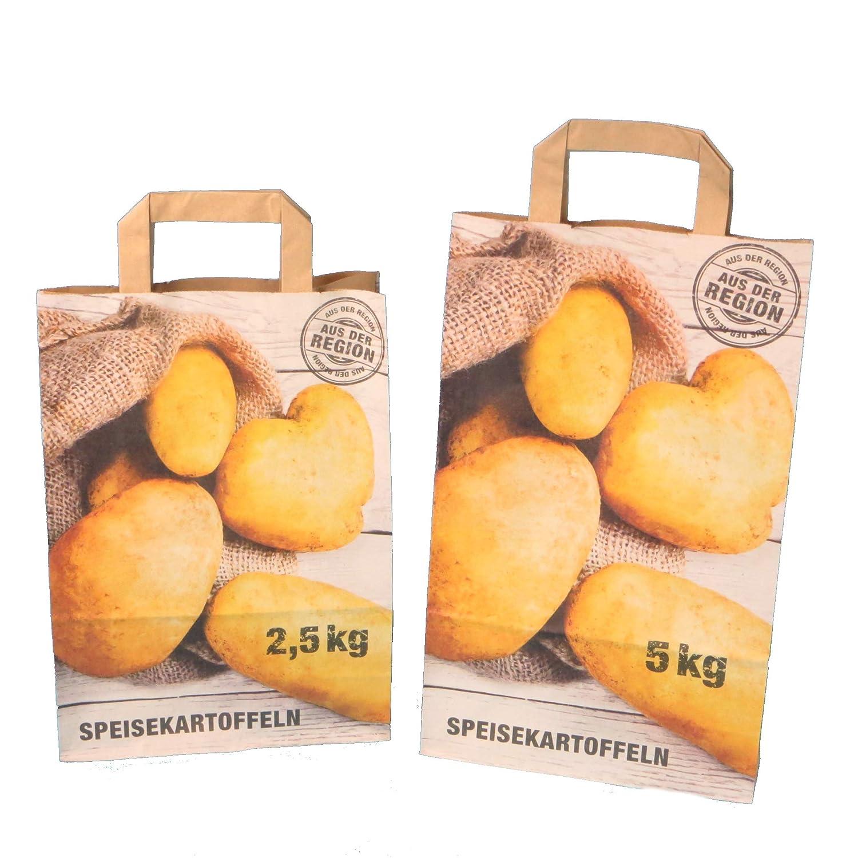 Inkl 250 Papiertragetaschen Kartoffeltragetaschen Papiert/üten f/ür Kartoffeln KRAFT 90g//m/² AufdruckSpeisekartoffeln 22+10x31cm 2,5kg Verpackungslizenz in D