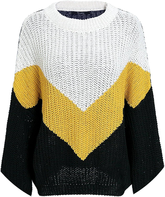 Trendy-Nicer-knitted women dress Elegant Spliced Sweater Women O Neck Long Sleeve Pullover 2018 Female