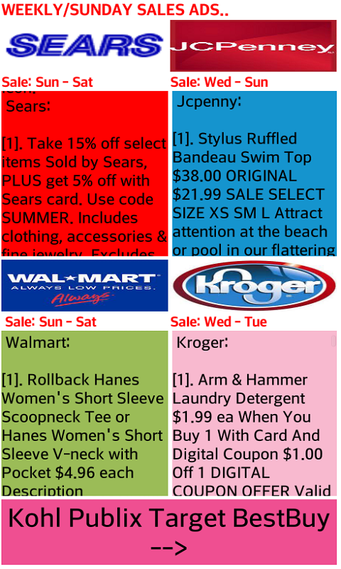 Weekly Sale Ads and Sale Hilites of Walmart, Kroger, Jcpenny, Target,  Publix, Sears, Kohls and Best Buy ( NO ADS  )