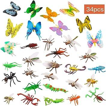 Ootsr 39pcs in plastica Insects e insetti per bambini giocattoli figure di insetti con colorato