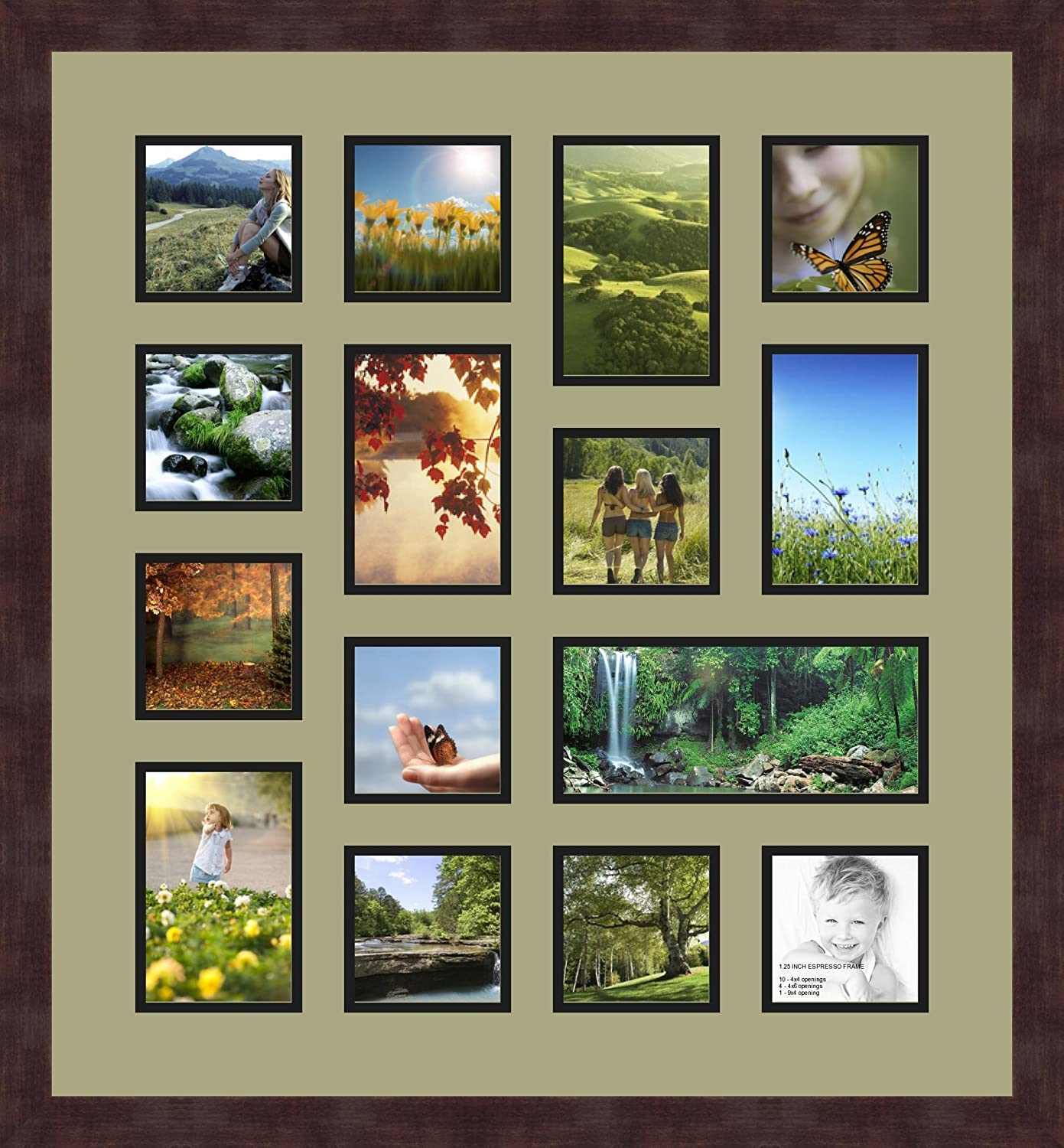 Art to Frames Double-Multimat-762-861//89-FRBW26061 Collage Frame Photo Mat Double Mat with 10-4x4 and 4-4x6 and 1-4x9 Openings and Espresso Frame