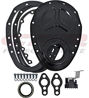Assault Racing Products A4934BKT Small Block Chevy Steel Timing Cover with Attached Tab 327 350 400 SBC Engines
