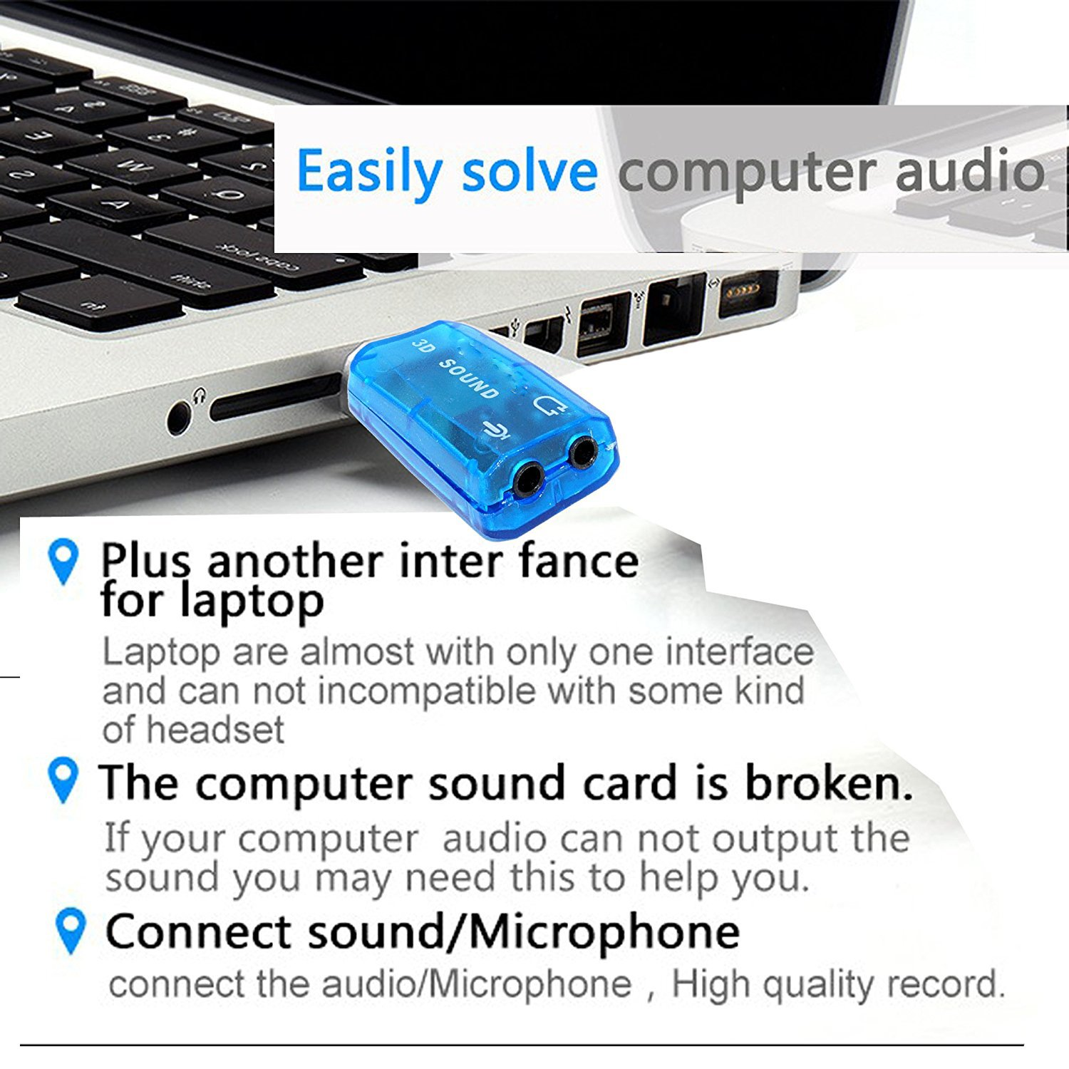 SaiTech IT 2 Pack USB 2.0 to 3D Audio Sound Card Adapter Virtual 5.1 Channel Blue