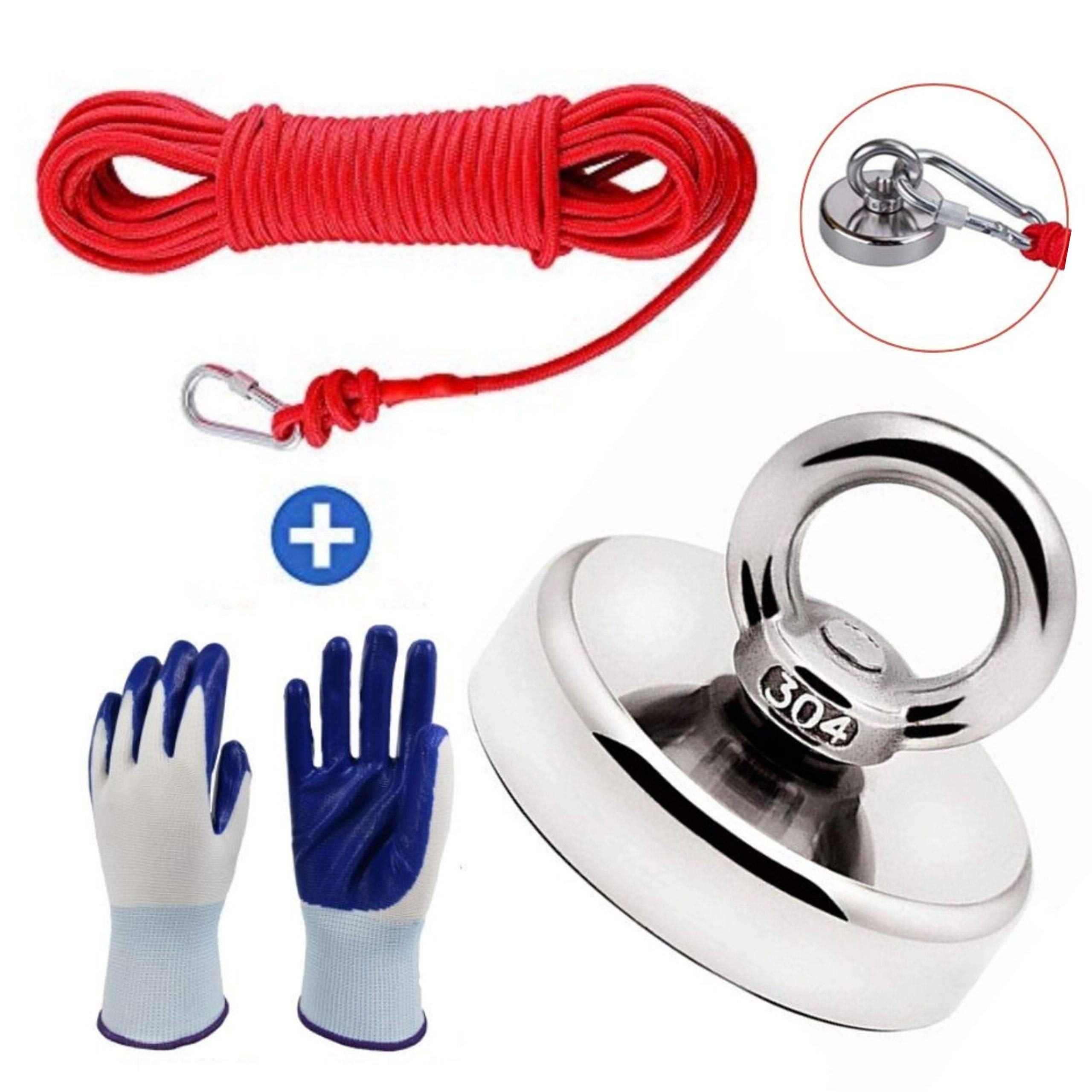 Magnet Fishing Kit with 66ft Rope & Glove, 380 LBS Pull Force Super Strong Neodymium Rare Earth Magnet with Heavy Duty Rope & Carabiner, Powerful Tool for Magnetic River Retrieving, 60mm Diameter by iREMARK