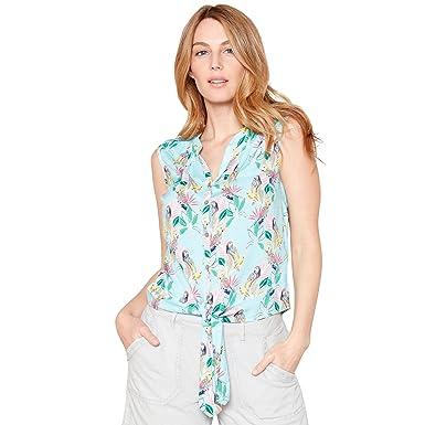 619c5c08a190d2 Mantaray Womens Pale Blue Floral Parrot Print V-Neck Sleeveless Top:  Mantaray: Amazon.co.uk: Clothing