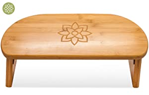 Mindful and Modern Folding Meditation Bench - Wooden Seiza Kneeling Stool for Zen Meditating Posture - Ergonomic Bamboo Yoga Stool with Portable Travel Carry Bag