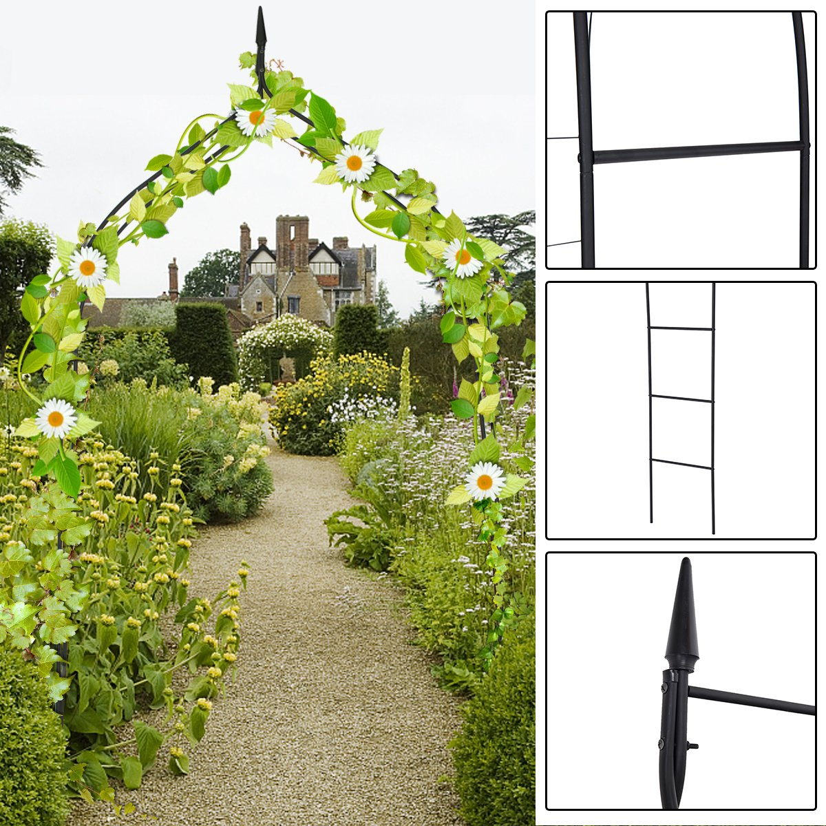 Casart Garden Arch Metal Pergola Arbor Archway Plants Flowers Roes Climbing Wedding Yard Backyard Lawn Outdoor (Style A)