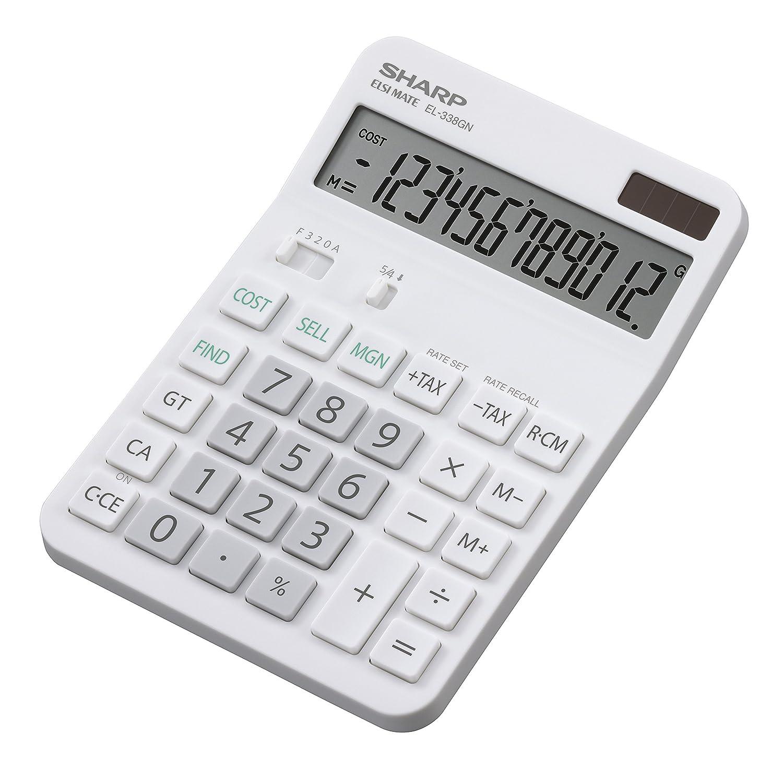 Sharp Electronics EL338GN - Calcolatrice, 12 cifre, calcolo costo-vendita-margine, bianco SH-EL338GN