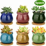 ZOUTOG Succulent Pots, 4 inch Ceramic Ice Crack Flower Planters, Colorful Pot with Bamboo Trays, Pack of 6 (Plants Not…