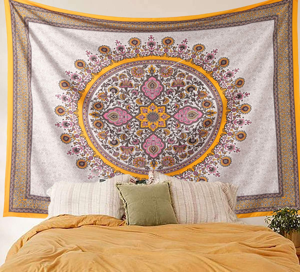 Sketched Floral Medallion Tapestry Gold Indian Wall Hanging Home Decor