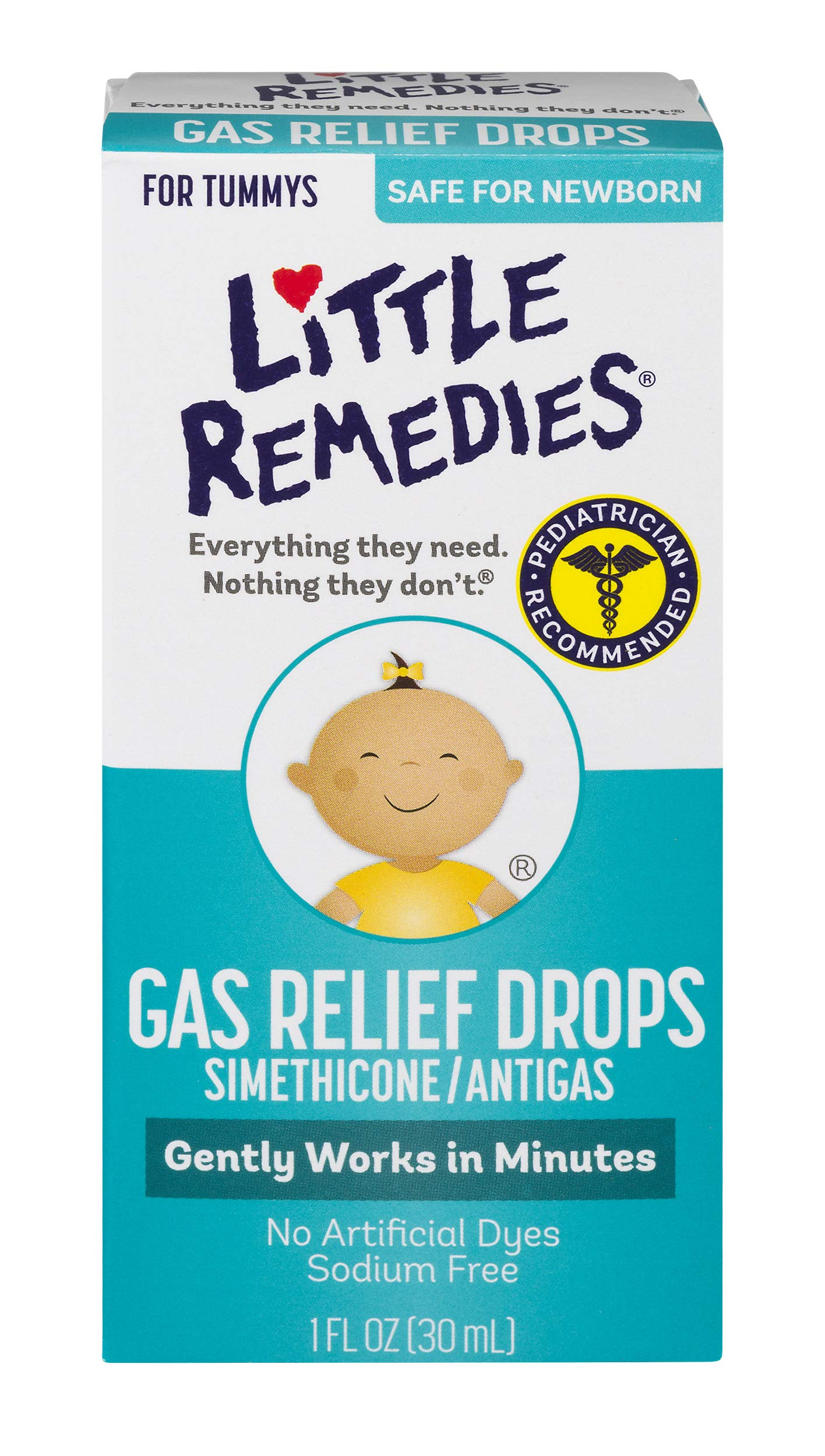 Little Remedies Gas Relief Drops | Safe For Newborns | 1 FL OZ | (Pack of 3)