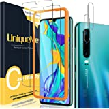 [2+2 Pack] UniqueMe Screen Protector and Camera Lens Protector Compatible for Huawei p30,[Easy Installation Frame][Anti-Scrat