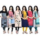 Navlik Women's Crepe Stitched Kurti Combo Pack of 6 (Multi-Coloured)