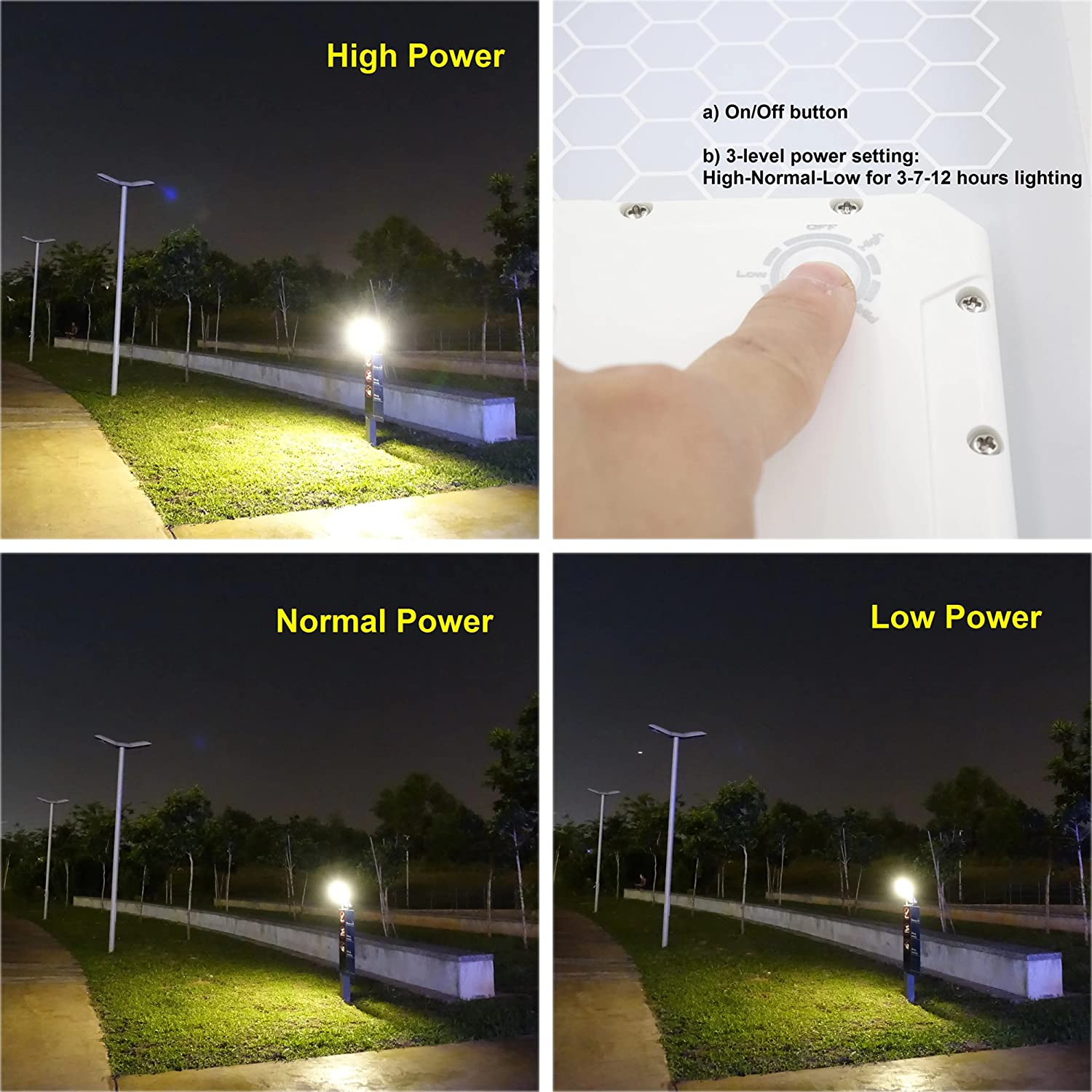 Solar Street Light Hex 780x Warm White Led Running Underground Electrical Wire On Garage Flood Wiring 3 Level Power Setting Fits Max Pole Diameter 25