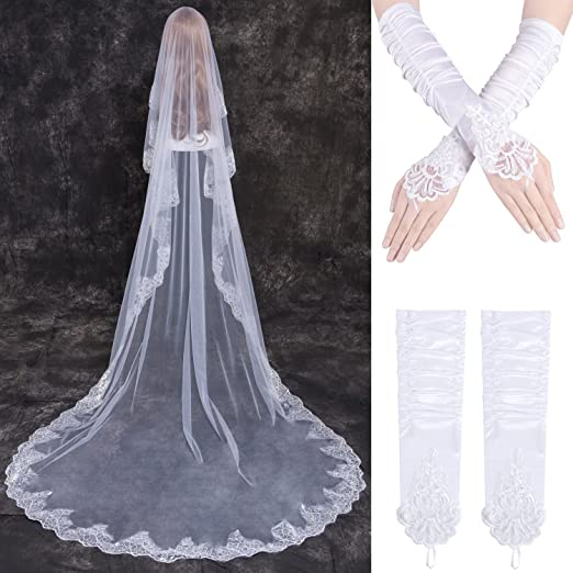 8b03abb78bc42 LONGBLE Women s 1T White Bridal Veils Flower Embroidered Long 3M Wedding  Veils with White Satin Gloves