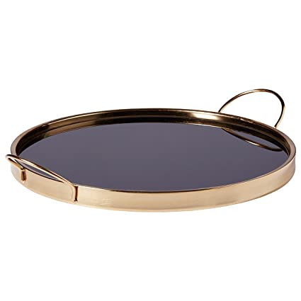 Rivet Contemporary Decorative Round Metal Serving Tray – 17.5 Inch, Black and Gold
