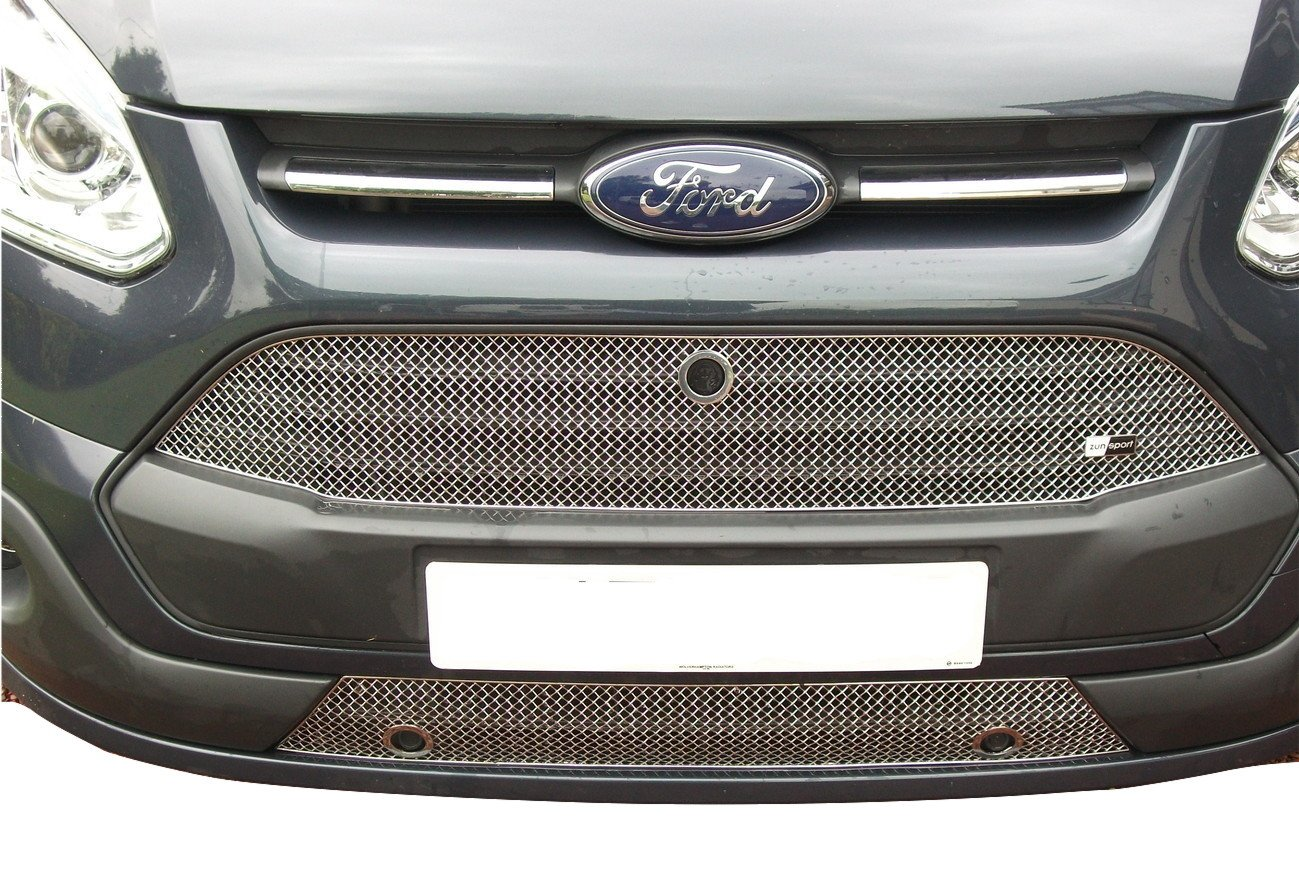 - Silver finish Front Grille Set Zunsport Compatible With Ford Transit Custom 2013-2018 With Parking Sensors