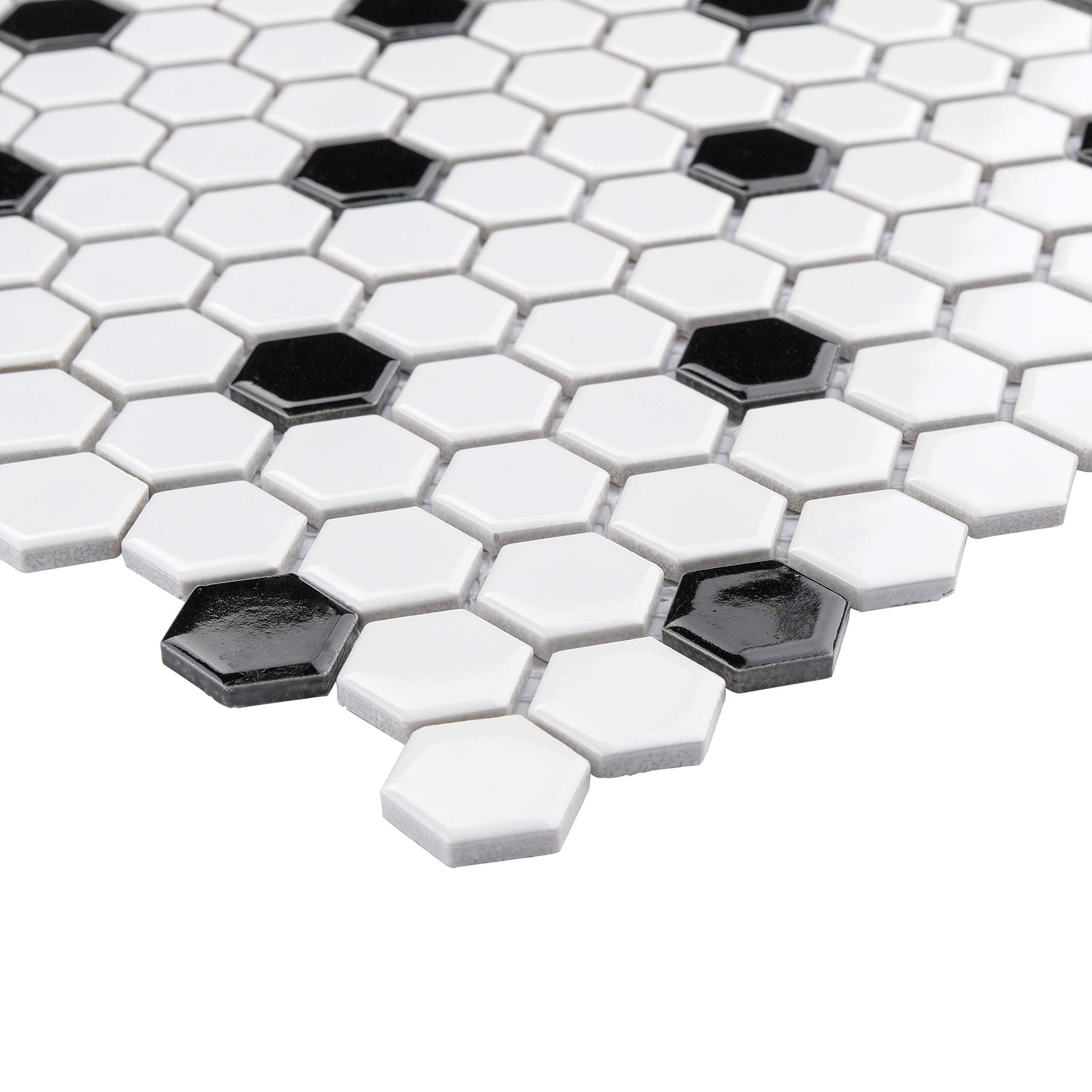 SomerTile FXLMHWBD Retro Hexagon Porcelain Mosaic Floor and Wall Tile, 10.25'' x 11.75'', White with Black Dot by SOMERTILE (Image #4)