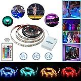 Simfonio Strisce LED Illuminazione con Telecomando,1m 5050 SMD Impermeabile 30Leds Full Kit con cassa di batteria