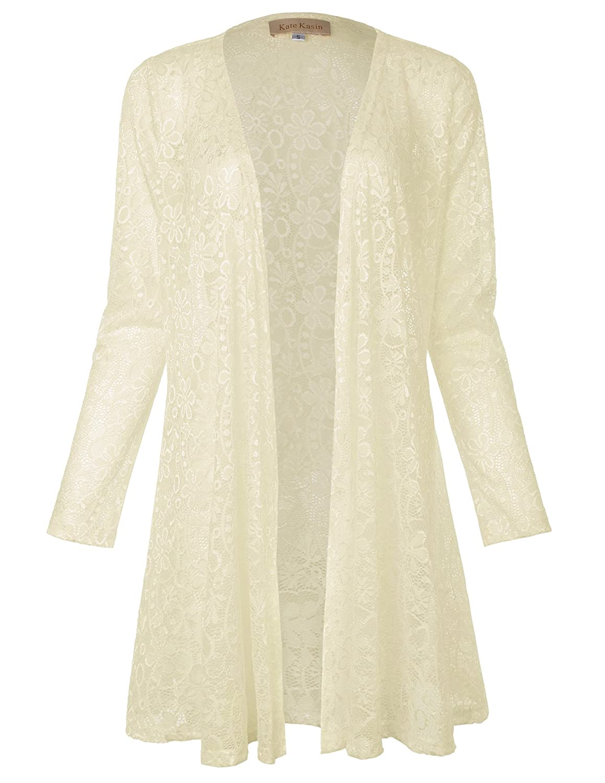 1920s Shawls, Wraps, Scarves, Fur Stole Kate Kasin Long Sleeve Drape Cardigan Lace Bolero Cover Up Shrug for Women $15.99 AT vintagedancer.com